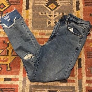BDG distressed two tone skinny jeans